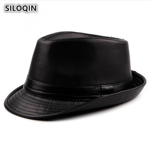 Men's Cap Autu Winter PU Leather Fedoras Simple Stylish Retro Jazz Hats For Men And Women Trendy Street Dance Dad Hat