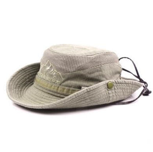Men's Cap Summer 100% Cotton Retro Mesh Breathable Bucket Hats Western 2020 New Style Wind Rope Fixed Dad's Beach Hat