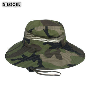 cd26f495c01 Unisex Mesh Ventilation Camouflage Bucket Hats Large Visor Along UV  Protection Beach Hat For Men Women Breathable Hat