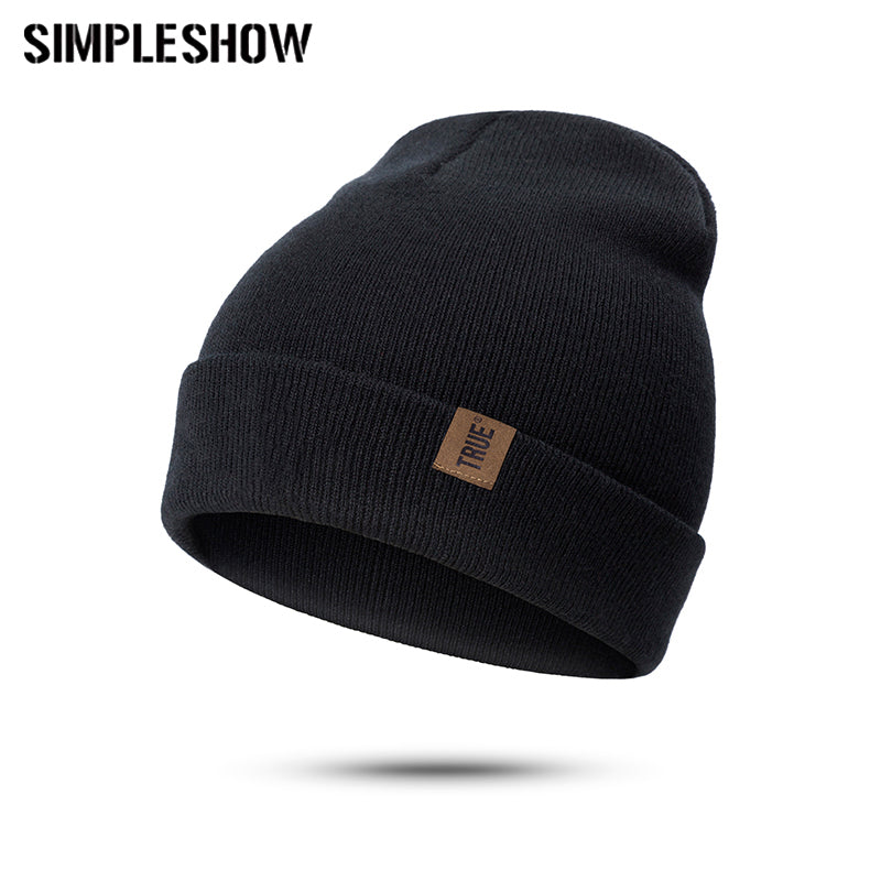572f39187e2 Fashion Knitted Skullies Beanies Winter Hat Black True Leather Head Cap  Woman Winter Thick Thick Warm Cap Female Hat