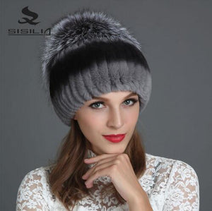 SISILIA 2020 Winter Fashion New Women's Hats With Real Fox Fur Hat Pom Poms Winter Hats Warm Knitted Cot Beanies Female Cap