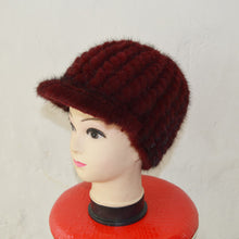 Load image into Gallery viewer, SJ925-02 Promotionable Mink Black Winter Warm Fur Hat Beanie Beautiful