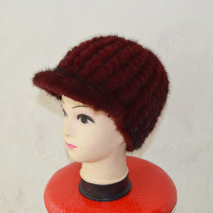 SJ925-02 Promotionable Mink Black Winter Warm Fur Hat Beanie Beautiful