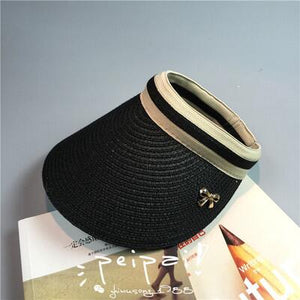 59d4dd6e94c6b Cute Bow Sun Hat Female Beach Hat Wide Brim Straw Visor Hat Cap Summer Hats  For
