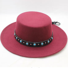 Load image into Gallery viewer, Men Women Fedora Flat Dome Hat Oval Top Bowler Porkpie Hat with Black Ribbon Band