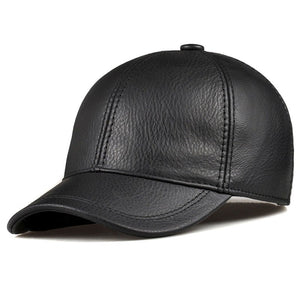 Wholesale 2018 Spring Genuine Leather Adjustable Solid Deluxe Baseball Ball Cap brand new men's hats/caps Man/Woman