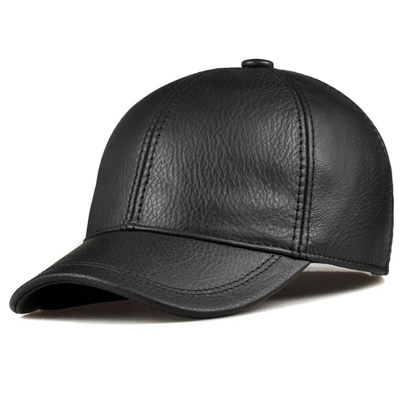 Wholesale 2020 Spring Genuine Leather Adjustable Solid Deluxe Baseball Ball Cap brand new men's hats/caps Man/Woman