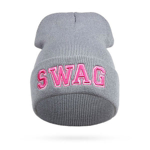 SWAG Hip Hop Beanie Letter Hats Women Cheap Beanies Knitting Bonnet Men Winter  Hat Snowboard Warm d49d366c5a8