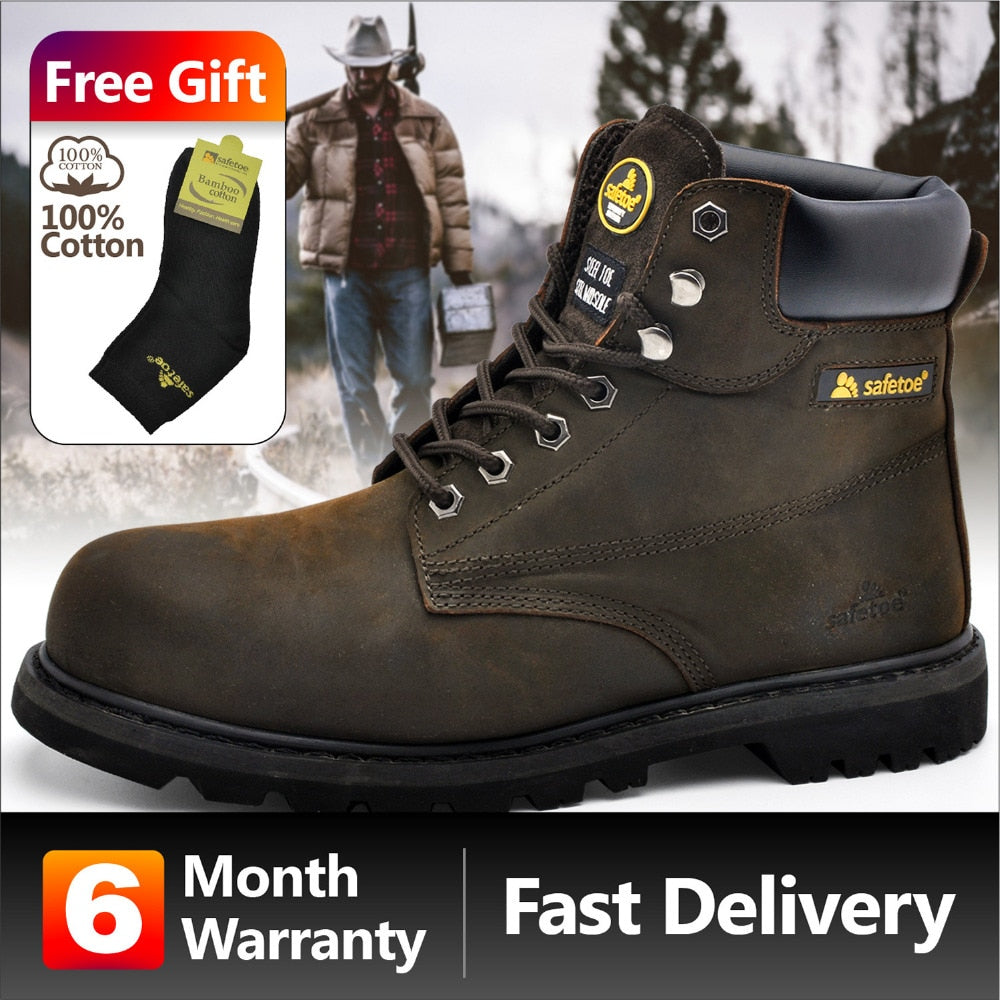 Men Work Boots Leather Safety Shoes Leather Safety Boots Working Safety Boots Work Shoes for Men Steel Toe Cap Boots
