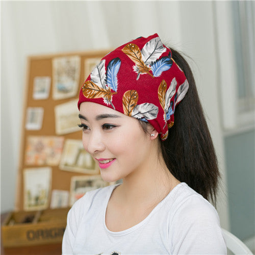 Sale Women 3 Use Feather Leaf Pattern Casual Beanies Fashion Knitted Autumn Winter Hip-hot Skullies Hat Beautiful Scarf Cap