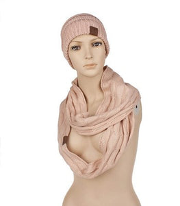 Scarf And Hat Sets CC Ponytail Beanie Winter Cap Women Scarves Neck Warmer Skullies Beanies Knitted Caps Casual Men Woolen Hats
