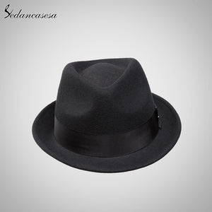 Sedancasase  Crushhat 100% Wo From Australian Fedora Fashion Unisex Black Homburg Panama Jazz Hat for Men FM008021
