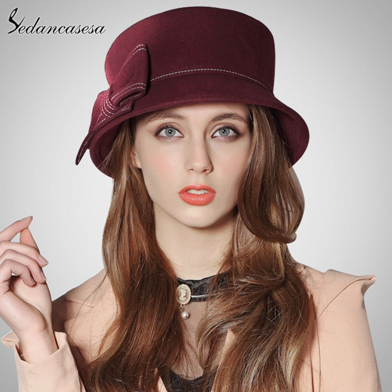 Europe American Sombreros Women 100% Australian Wo Cloche Fedora Hats for Women Winter Autu Derby Hat FW091003B