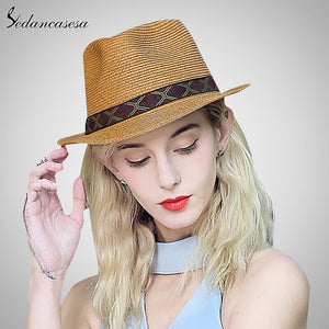 7b9a817b97e fedora Hats for woman men summer straw short brim hat beach UV sun hat  shopping holiday