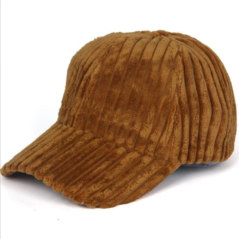 2018 New Unisex Couple Solid Color Corduroy Winter Warm Baseball cap Adjustable Fashion Leisure Casual Snapback HAT