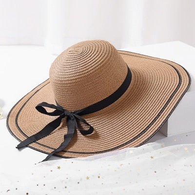 37af65f2a HotSale Fashion Hepburn Wind Black White Striped Bowknot Summer Sun Hat  Beautiful Women Straw Beach Hat Large Brimmed Hat