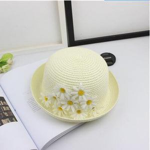 Mom and Child sun Hats Summer color Daisy bowknot Style Child Sun hat Girl Floppy Wide Brim Beach Cap Flower Straw Hats