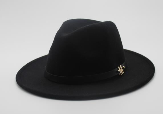 New Brand Wo Men's Black Fedora Hat For Gentleman Woolen Wide Brim Jazz Church Cap Vintage Panama Sun Top Hat
