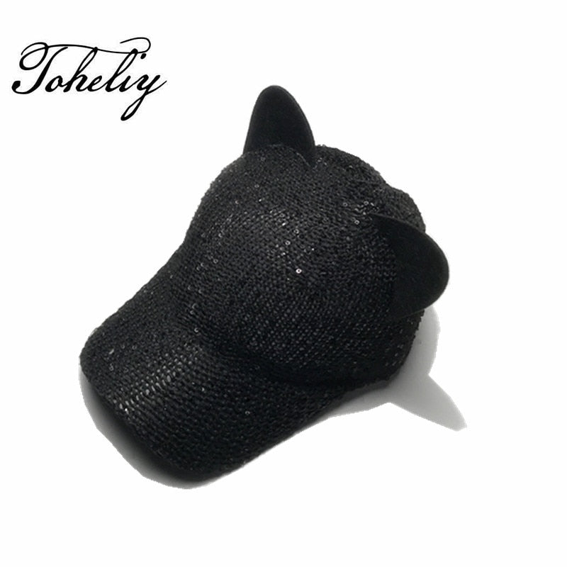 Sequins Paillette Bling Shinning Mesh Cartoon ear shape Baseball Cap Striking Pretty Adjustable Women Girls Hats