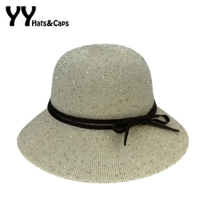 1140bdb4de6 Shiny Fedora Hats For Women Spring New Round Top Trilby With Bowknet  Vintage Knitted Fedora Casual
