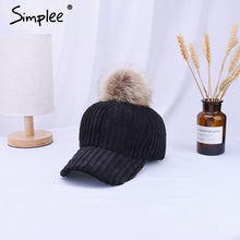 Load image into Gallery viewer, Simlpee Corduroy hair ball adjustable baseball caps 2018 Fashion style autumn winter women hat Female casual hat casquette