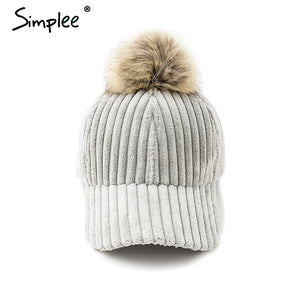 Simlpee Corduroy hair ball adjustable baseball caps 2018 Fashion style autumn winter women hat Female casual hat casquette