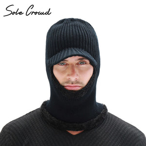 63735c0ed2d 2018 Plus Velvet Thick Knitted Hat Men Winter Balaclava Hats Mask Skullies  Beanies For Men Warm