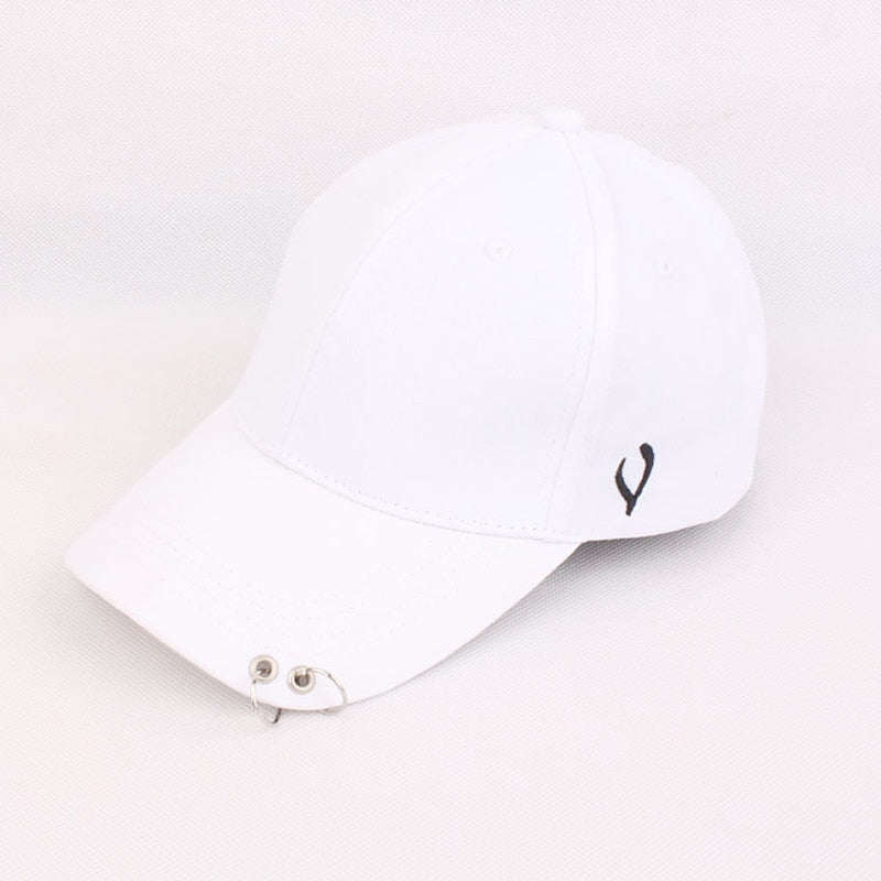 Solid Men Women Baseball Cap with Metal Ring Adjustable 6 Panel SnapBack Gorras Hip Hop Style Fashion Street Black White Hat Cap