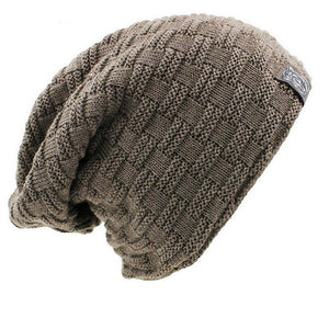 f90a501b4fac5 Solid knitted Winter Hat for Men Fashion Warm Plaid Skullies beanies  Headgear Men s hat fluff 2018