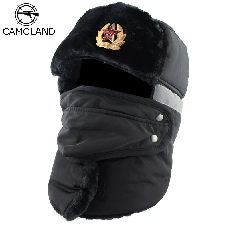 e83c066c0 Soviet Army Military Badge Russia Ushanka Bomber Hats Pilot Trapper trooper  Hat Winter Faux Fur Earflap Men Snow Caps Reflective