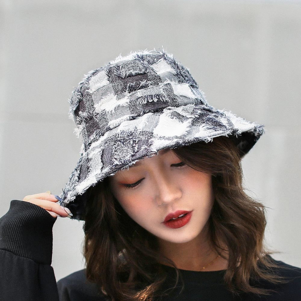 Spring Autu Bucket Hat for Women Girls Unique Shabby White and Black Plaid Style Sun Hat