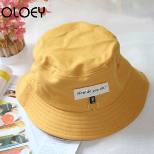 Spring Casual Bucket Hat Women 2020 Solid Color Travel Round Top Short Eaves Patch Design Suncreen Cap Foldable J963