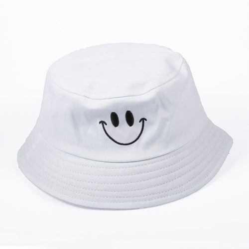 Spring Summer Lovely Smile Black White Bucket Hat Unisex Women Men Outdoor Casual Fishing Hat