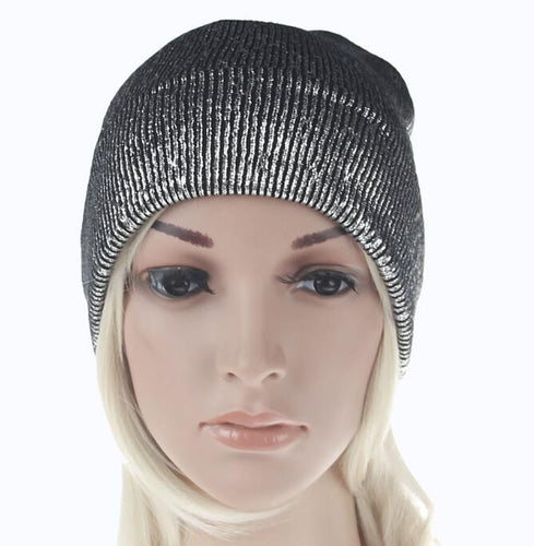 Spring Women's Bronzing Black Beanies Hat Casual Slouchy Beanie for Women Metallic Color Skullies Cap Black Knit Bonnet
