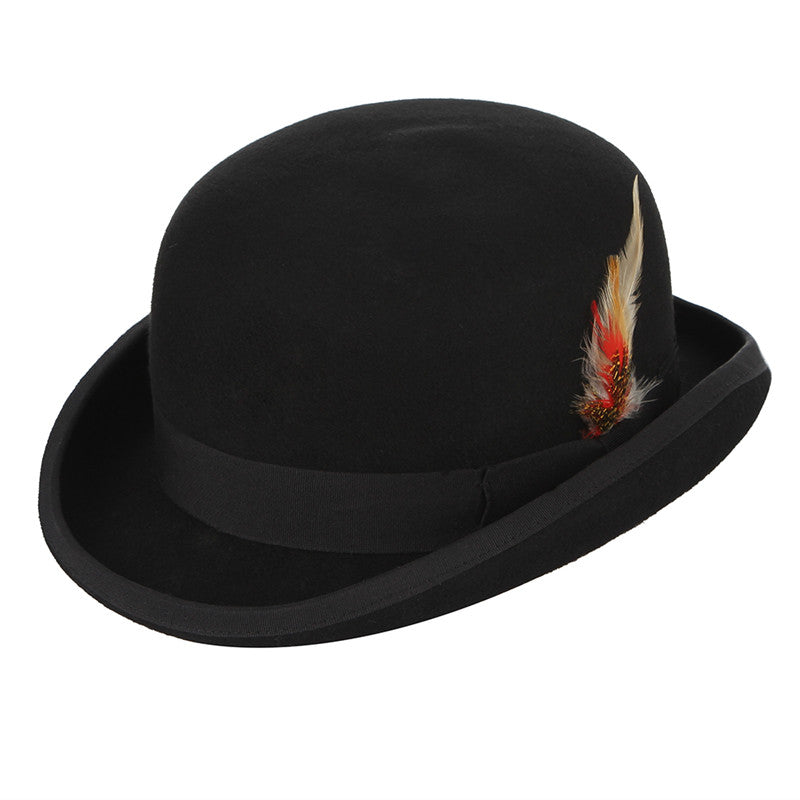 Steampunk Men Fedora Hatter President Magic Magician Top Hat With Feather  Wo Church Hat England Style Jazz Caps f40b2c0f9d7