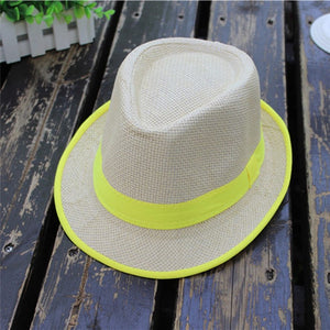 Straw Hat Men Fedoras Unisex Men Women Beach Straw Hat Jazz Panama Trilby Fedora  Hat Gangster 1e692d7e020