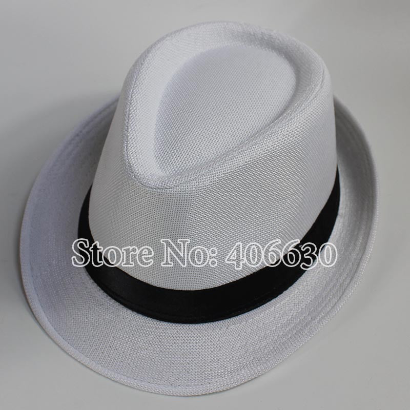 Summer Black Straw Fedora Hats For Men Chapeu Masculino Panama Sun Jazz Caps Free Shipping MEDS002