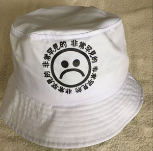 163a8922f86 Summer Black Unisex Cotton Chinese Letter Sad Face Printed Bucket Hat  Boonie Hunting Fishing Outdoor Cap