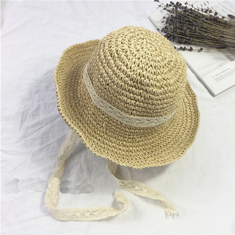Summer Boater Hats For Women Straw Sun Hat Lady Girls Lace Ribbon Bow Panama Beach Hats Floppy Female Travel Folding Cap