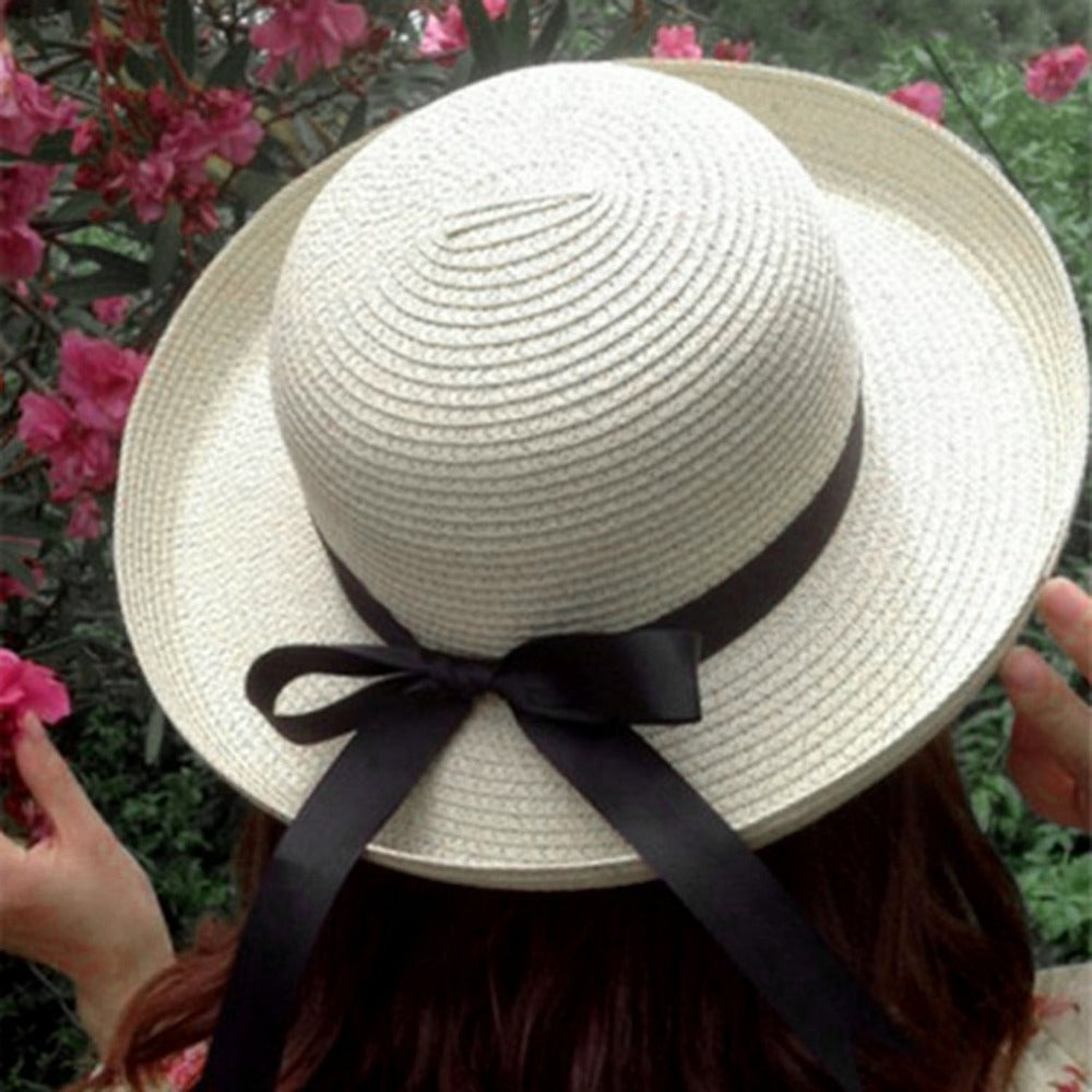Summer Boater sun hats cap Ribbon Round Flat Top Straw beach hat Panama Hat for women UV protection cap sunhats chapeau femme &2