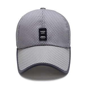 Summer Breathable Mesh Baseball Cap Quick Drying Hats For Men Blue gray full mesh cap