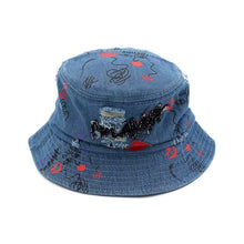 Load image into Gallery viewer, Summer Cute Adorable Unisex Men Women Girl  Lovely Graffiti Floppy Foldable Casual Sun-Proof Denim Jeans Outdoor Bucket Dad Hat