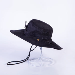 Summer Men Women Bucket Hat Outdoor Military Panama Safari Boonie Sun Hats  Cap with String Fisherman a10950f0bce