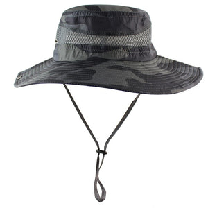 dc0d8ebf48e Summer Men s Women Bucket Hat Breathable Mesh Beach Sun Hats Wide Brim  Outdoors Foldable Tactical Fishing