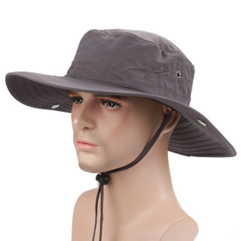 Summer Outdoor Sunscreen Large Brimmed Fishing Cap Quick Drying Round Bucket Hat Cowboy Style Cap