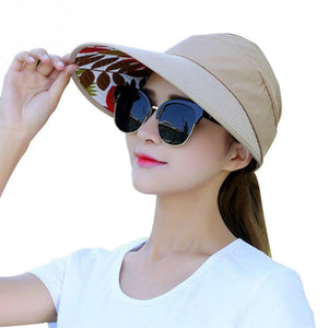 Summer Sun Protection Folding Sun Hat for Women Wide Brim UV Protection Sun Hat Beach Packable Visor Hat