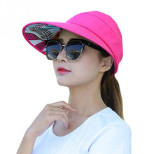 Load image into Gallery viewer, Summer Sun Protection Folding Sun Hat for Women Wide Brim UV Protection Sun Hat Beach Packable Visor Hat