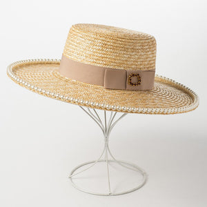 Summer Sun Straw Hat for Women Flat Top Boater Hats 2018 New Fashion Safari Hat with Pearls 681031