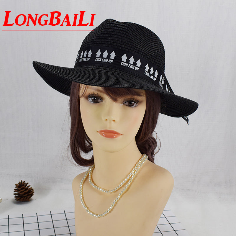 Summer Wide Brim Black Paper Braid Straw Fedora Hat For Women Sun Beach Panama Hats Female Free Shipping WHDS022
