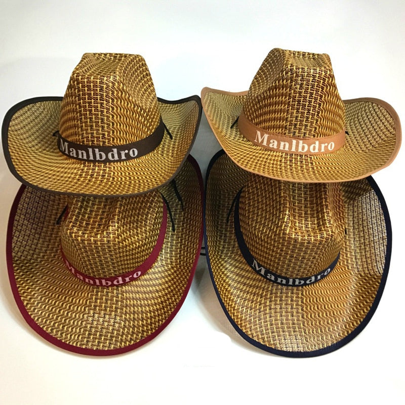 Summer Wide Brim Straw Weave Hat Casual Western Cowboy Hats Panama Cap Jazz Chapeau Outdoor Sunhat Topee for Men Women Unisex